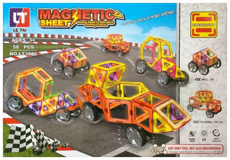 Магнітний конструктор Magnetic Sheet Автопарк 3002 - 58 дет.