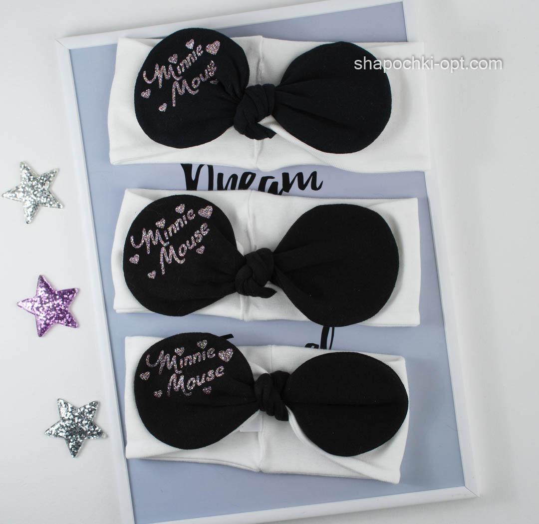 Молочная трикотажная повязка Мини Маус с черным бантиком