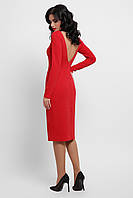 Красное платье по колено с открытой спиной
