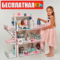 """Большой игровой набор NestWood домик """"ЛЮКС Плюс"""" розовый с лифтом, мебелью и аксессуарами"""