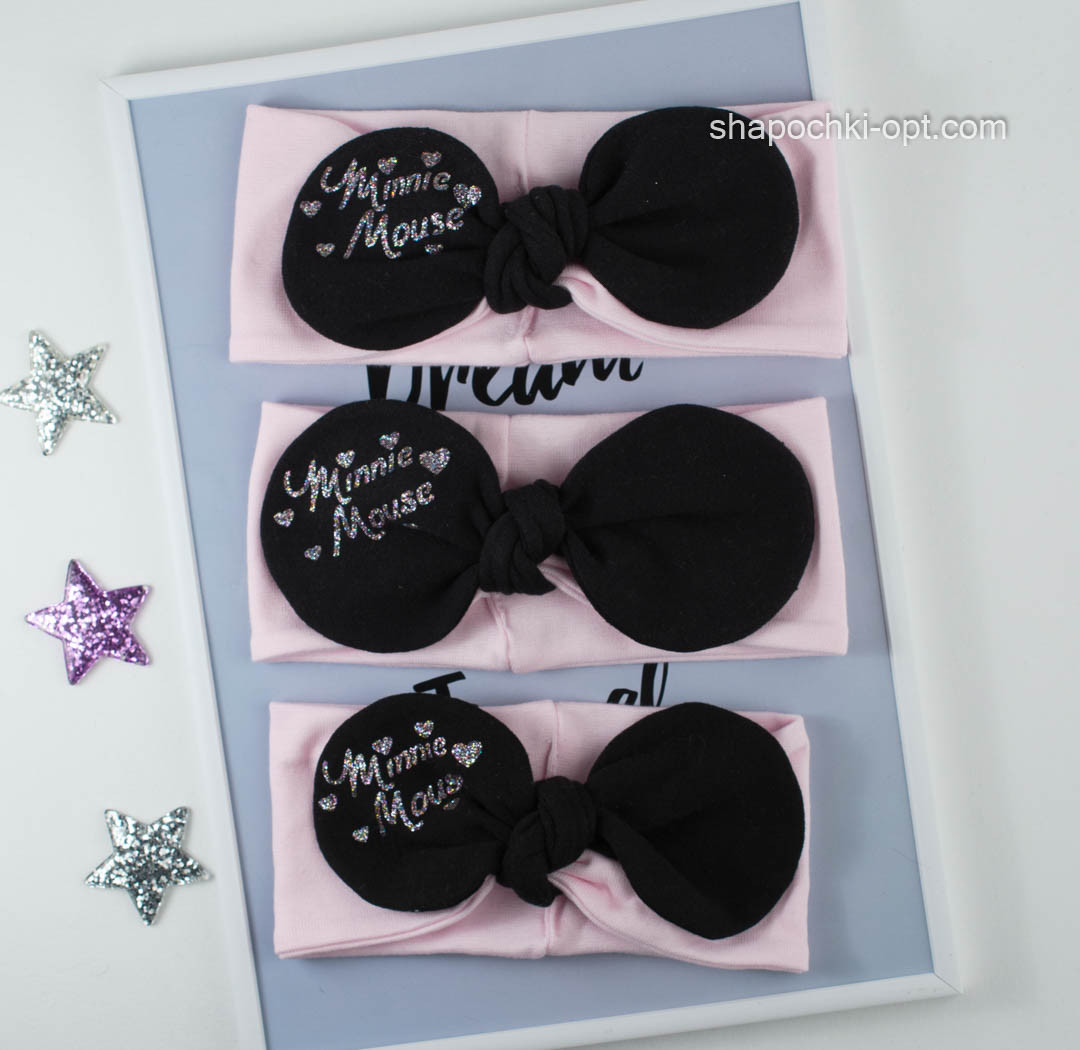 Трикотажная розовая повязка Мини Маус с черным бантом