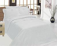 Льняной комплект постельного белья белого цвета