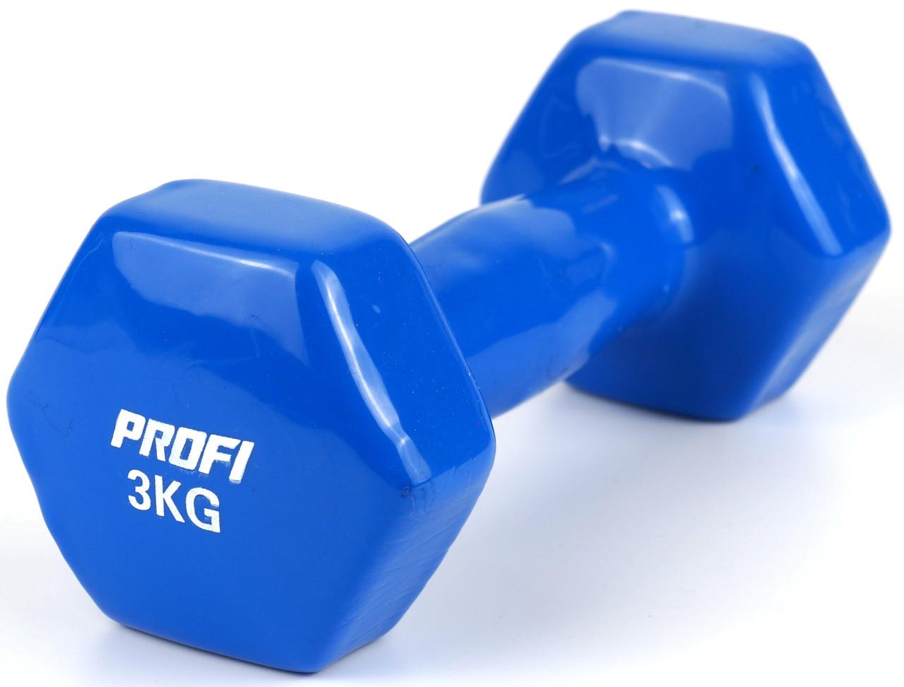Гантель 3 кг Profi с виниловым покрытием (Синий)