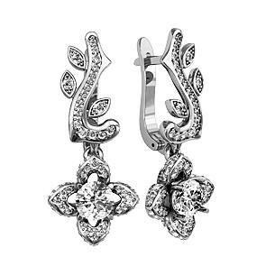 Сережки серебряные Цветок Люкс