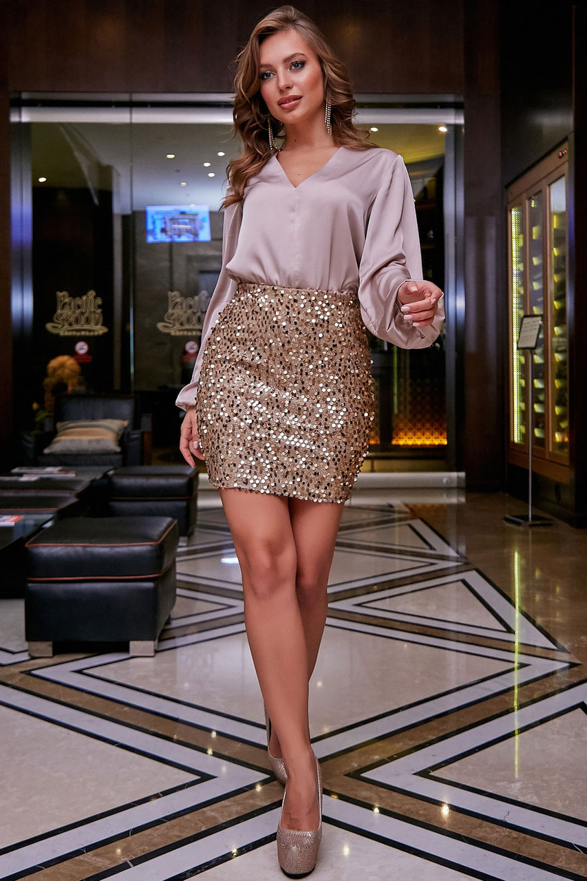 Нарядная юбка–карандаш с пайетками 1271 (44–50р) в расцветках