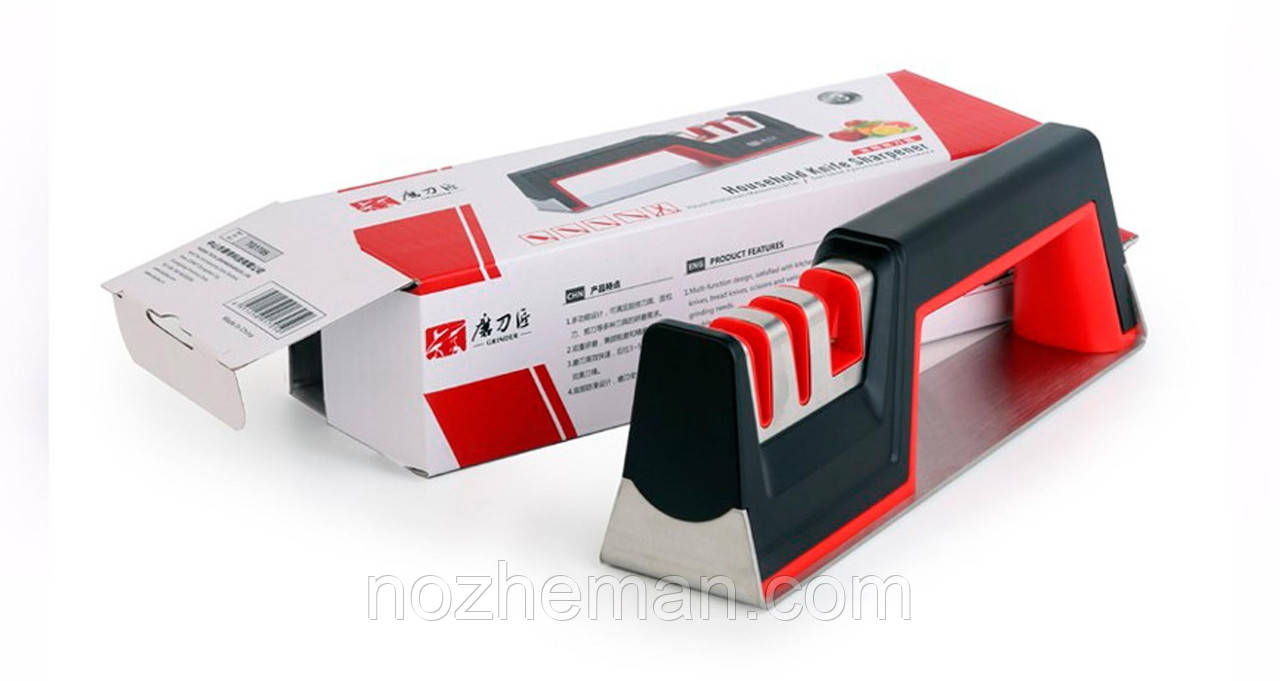 Ручная механическая точилка, для заточки стальных и керамических ножей в домашних условиях