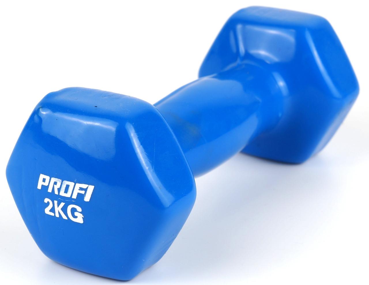 Гантель Profi 2 кг с виниловым покрытием (Синий)