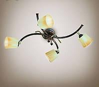 Люстра 4-х ламповая, металлическая, с поворотными плафонами, спальня, кухня, прихожая