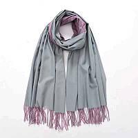 Женский двухцветный кашемировый шарф палантин серый-розовый, кашемир