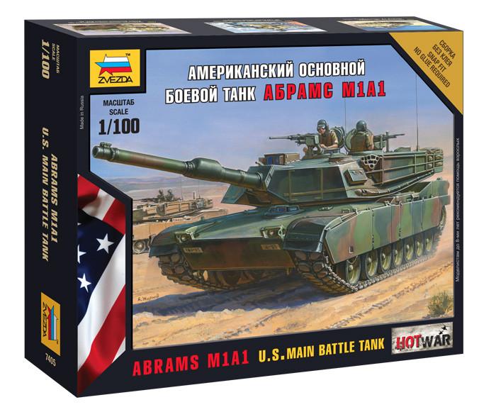 """Американский танк """"Абрамс"""" А1М1. Сборная модель, сборка без клея. 1/100 ZVEZDA 7405"""