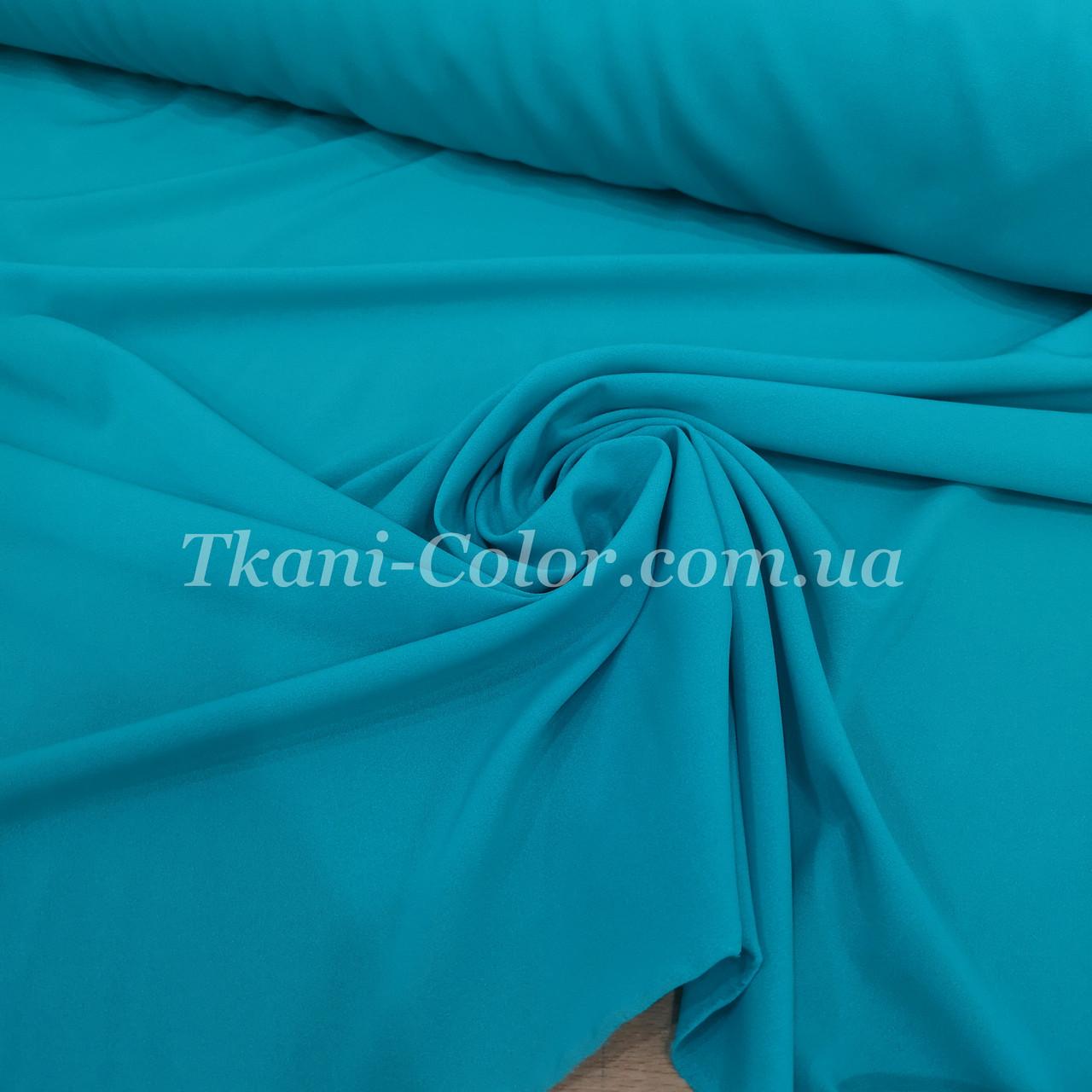 Ткань креп-шифон голубая бирюза