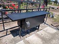 Лавка, стол откидные на кладбище. Броневик Днепр.