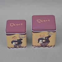 """Набор коробок для хранения сыпучих продуктов """"Dinner"""" CF09, размер большой коробки 11x11x11 см, в комплекте 2 коробки, металл, емкость для сыпучих"""