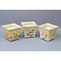 """Комплект вазонов для цветов """"Прованс"""" F5557, в наборе 3 шт, 3 вида, металл, вазон для комнатных растений, горшок для растений"""