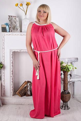 Бирюзовое платье длинное батальные размеры из поплина, фото 2