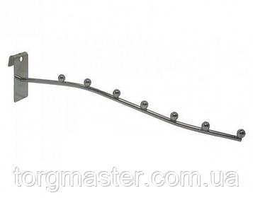 Кронштейн (флейта) на торговую сетку хромированная на 7 шариков