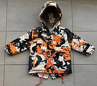 Куртка-парка весенняя на мальчика 3 года Коричневый, фото 1