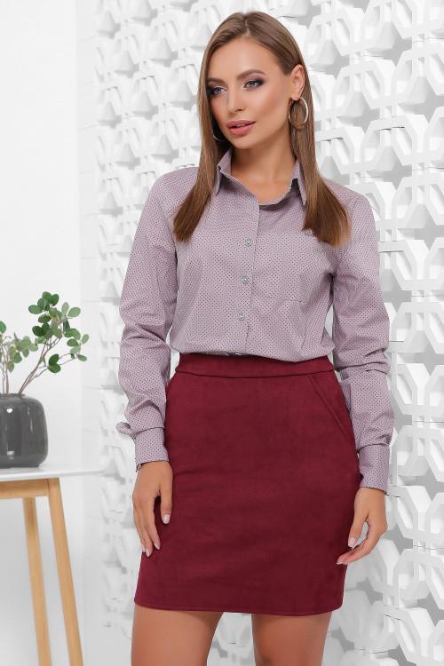 Женская рубашка серо-сиреневая