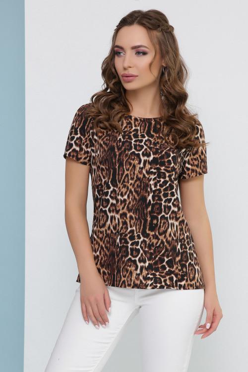 Женская блуза коричневый леопард