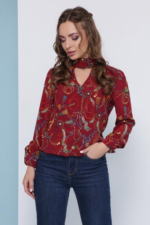 Женская блузка бордовая с узором