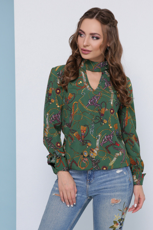 Женская блузка зеленая с узорами