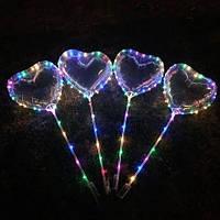 Светодиодный мигающий воздушный шар BOВO на палочке Сердце, фото 1