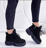 Женские черные зимние ботинки маломерят 36 37 38 39 40 41
