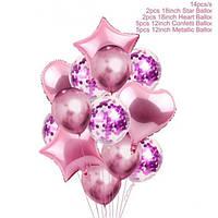 Набір рожевих кульок з конфеті (14 шт. в уп.)