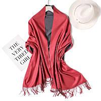 Двухцветный кашемировый женский шарф палантин весна-осень, кашемир красный-серый