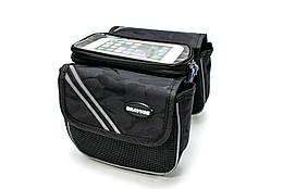 Велосумка на раму, с отделением под смартфон черный камуфляж BRAVVOS QL-200