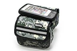 """Велосумка на раму, с отделением под смартфон хаки камуфляж """"пиксель"""" BRAVVOS QL-202"""