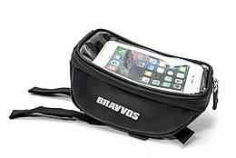 Велосумка с оделением под смартфон черный BRAVVOS CT-002
