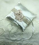 Новая свадебная подушка с розовыми цветочками, фото 3