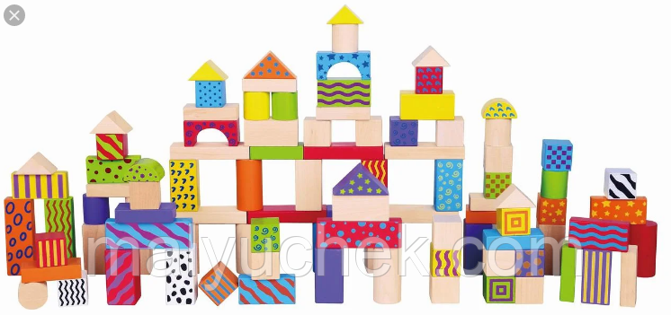 Набор игрушечных строительных кубиков 100 шт. Viga Toys 59696