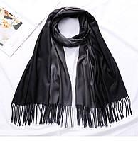 Двухсторонний кашемировый женский шарф-палантин двухцветный: черный-серый, кашемир