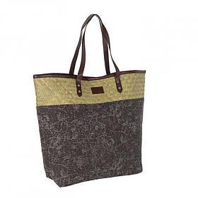Жіноча велика пляжна сумка на плече Коричнева BK06