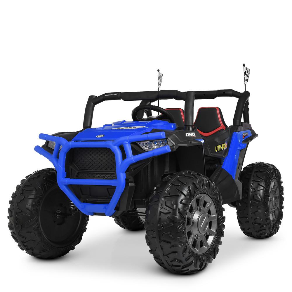 Дитячий електромобіль Джип M 4248 EBLR-4, мотори 200W, шкіряне сидіння, EVA колеса, синій