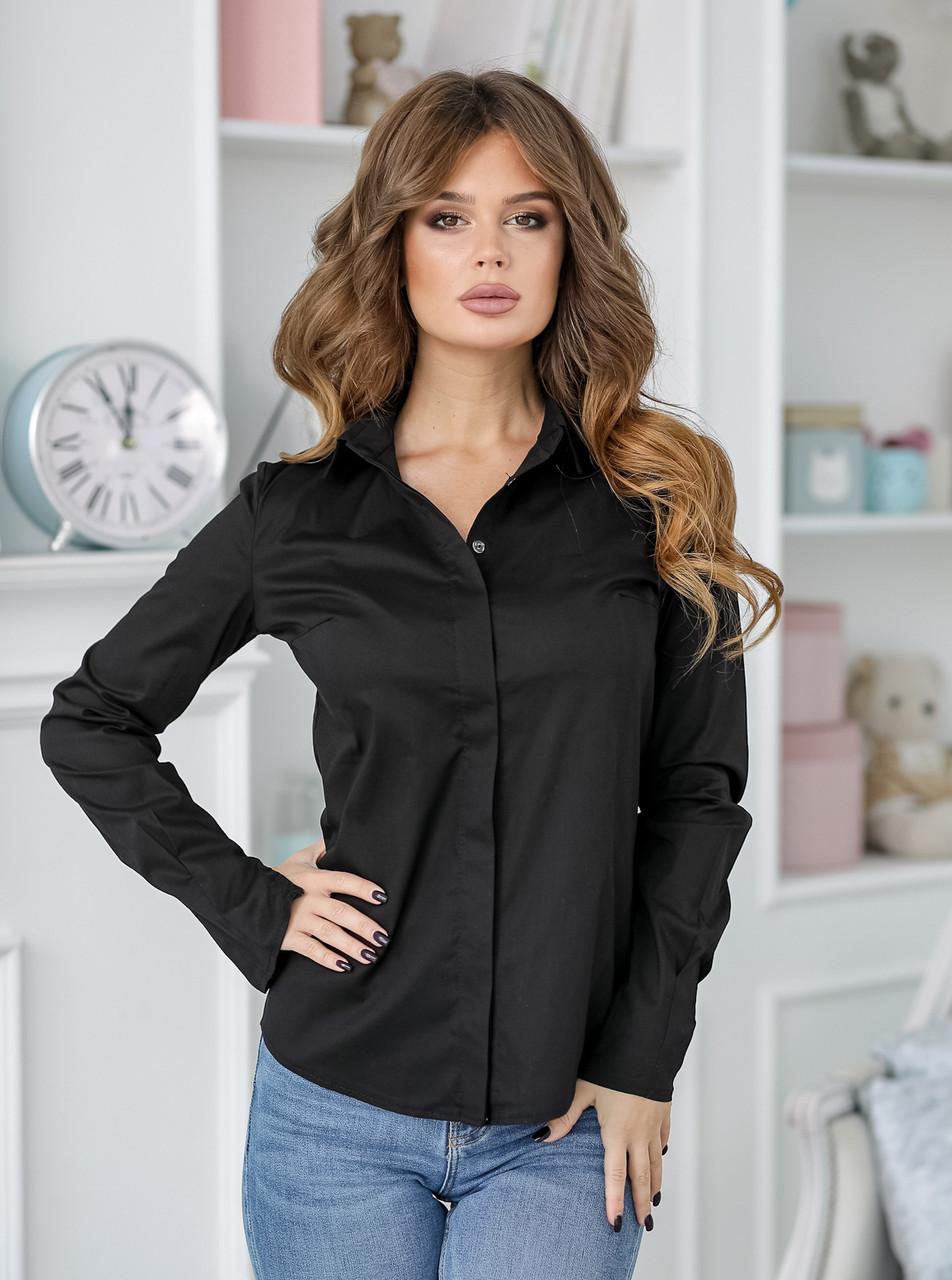 Женская рубашка черная, классическая