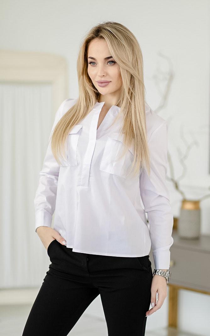 Блузка из поплина, белая
