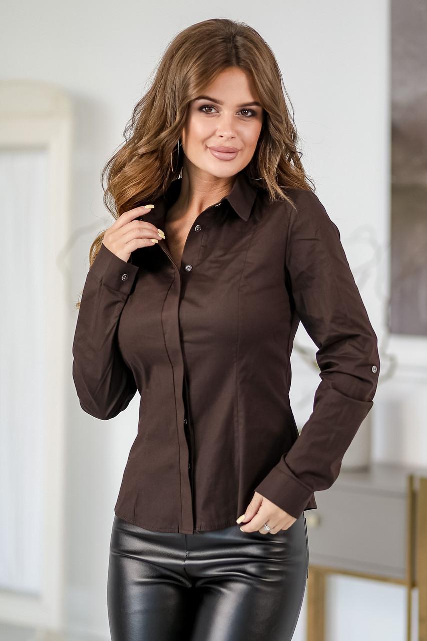 Коттоновая женская рубашка шоколад