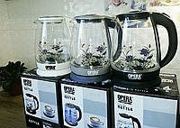 Электрический чайник стеклянный  2л OPERA с цветком, фото 1