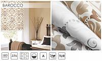 Ролеты тканевые на окан стиль Барокко 01 Silver очень красиво выглядит на оконном проёме