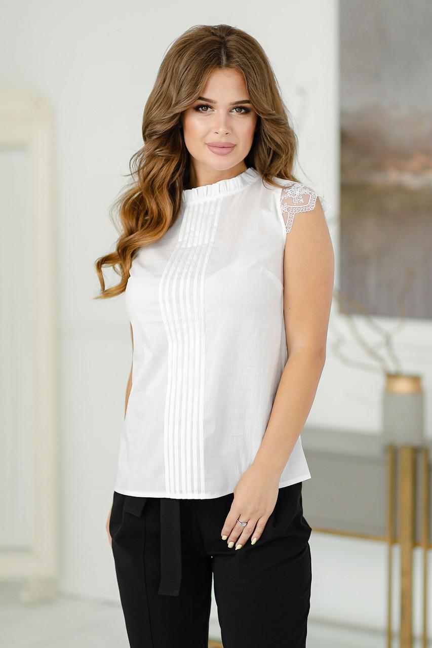 Женская блузка белая, поплин