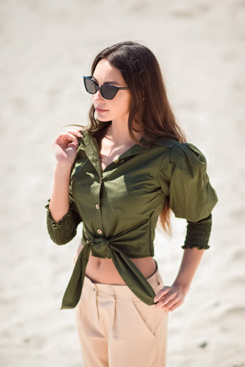Женская блузка с поясом, хаки