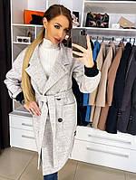 Женское демисезонное пальто  Наоми светло-серого цвета