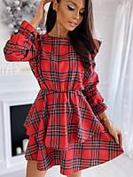 Платье женское красное в клетку, 42-44, 44-46