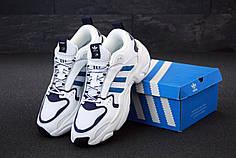 Мужские кроссовки Adidas Consortium Naked Magmur Runner White Blue. ТОП реплика ААА класса.