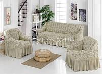 Новинка! Жаккардовые чехлы на диван и кресла Karahanli серый