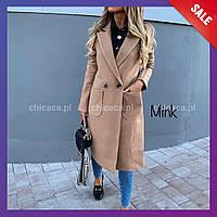 Женское весеннее пальто кашемир черное серое кэмел С М Л