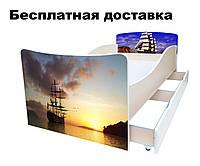 Детская кровать Корабль море закат парусник, фото 1